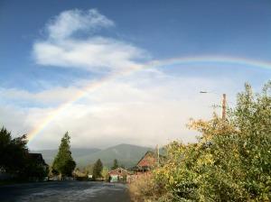 Sandra Walter rainbow over Shasta